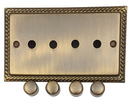 G&H MAB14-PK Monarch Roped Antique Bronze 4 Gang Dimmer Plate Only inc Dimmer Knobs
